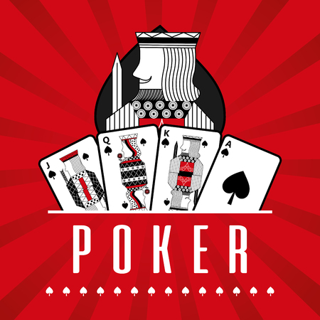Deck of card casino poker king spade red rays background vector illustration