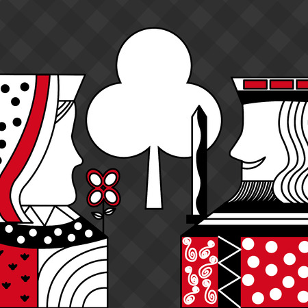 Casino poker queen and king club card game checkered background vector illustration