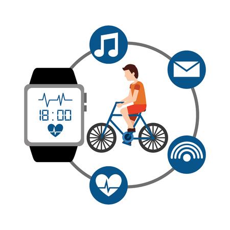 cartoon man riding bike sport activity wearable technology health vector illustration
