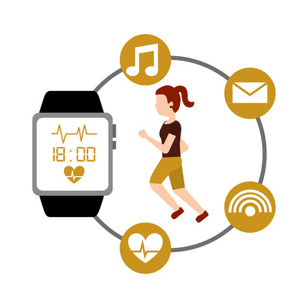 cartoon young woman runner fitness wearable technology smart watch vector illustration