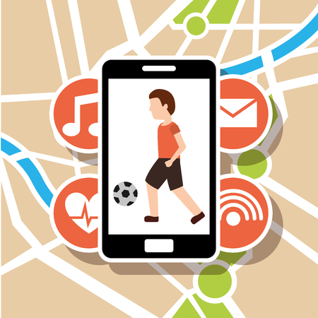 Smartphone with man soccer ball map navigation vector illustration