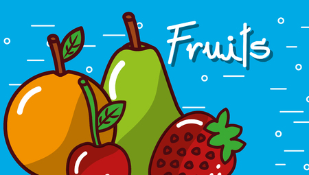Orange pear cherry strawberry fruits blue background vector illustration