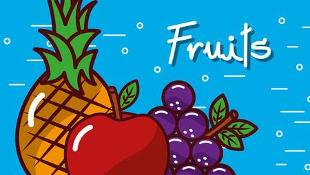 Apple grape pineapple fruits blue background vector illustration