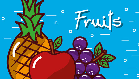 Apple grape pineapple fruits blue background vector illustration