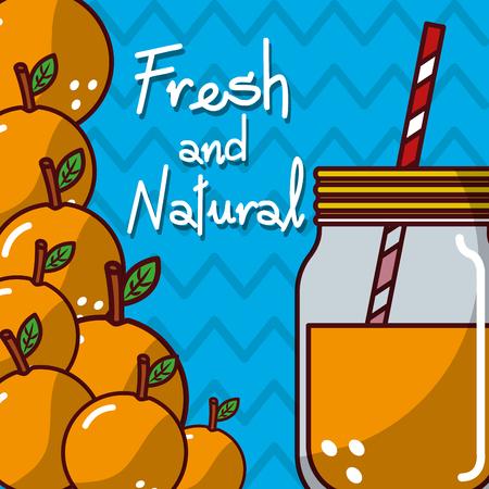 glassware jar juice orange fruit fresh and natural vector illustration