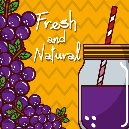 Glassware jar juice grape fruit fresh and natural vector illustration