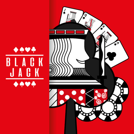 black jack casino poker cards king chip red background vector illustration