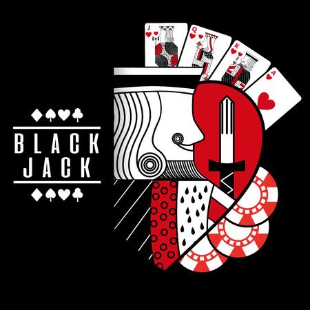 black jack heart king cards chip black background vector illustration