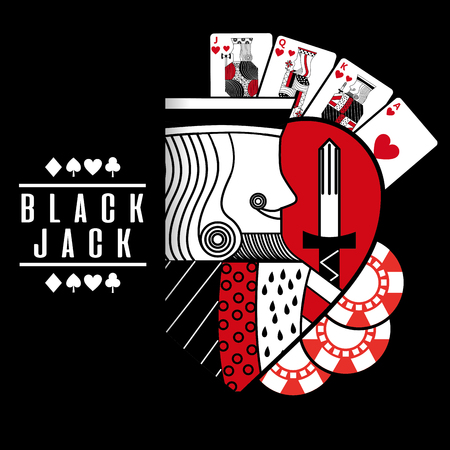 black jack heart king cards chip black background vector illustration Foto de archivo - 96196863