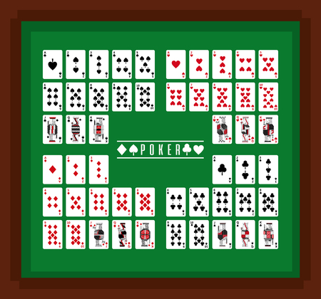 Poker playing cards casino on table set vector illustration