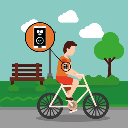 Sport man riding bike with mobile monitoring app in the park vector illustration