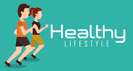 sporty couple jogging healthy lifestyle banner vector illustration