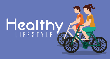 couple riding bike healthy lifestyle banner vector illustration Stock Illustratie