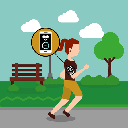 Young woman jogging sport smartphone heart beat in the park vector illustration 版權商用圖片 - 96190721