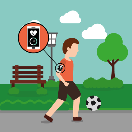 Young man with mobile app playing soccer ball in the park vector illustration Illustration