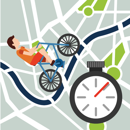 Young man riding bike in navigation map stopwatch vector illustration