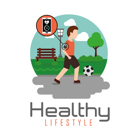 man playing ball soccer in the park healthy lifestyle theme vector illustration