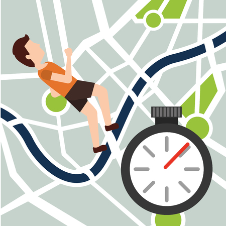 Sport man jogging navigation map route chronometer vector illustration Stock Vector - 96190726