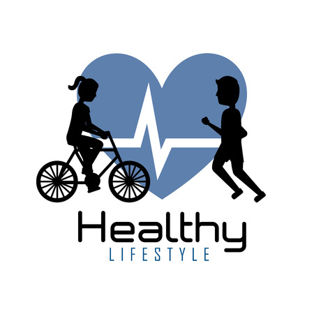 Healthy lifestyle people training exercise heartbeat vector illustration