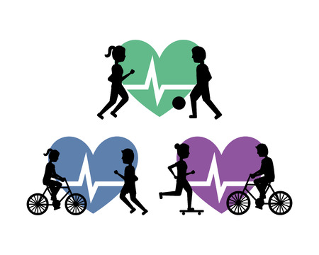 set of people healthy lifestyle exercise activity vector illustration