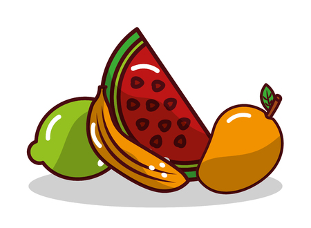 Fruit watermelon banana and lemon vector illustration