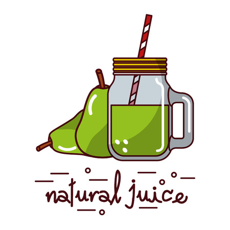 Pear fruit and natural juice glass and straw vector illustration