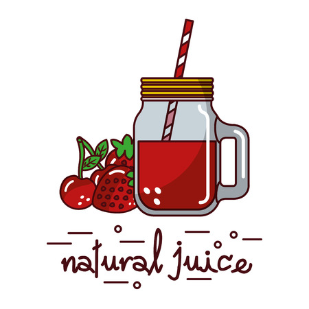 red fruits cherry strawberry and natural juice glass and straw vector illustration