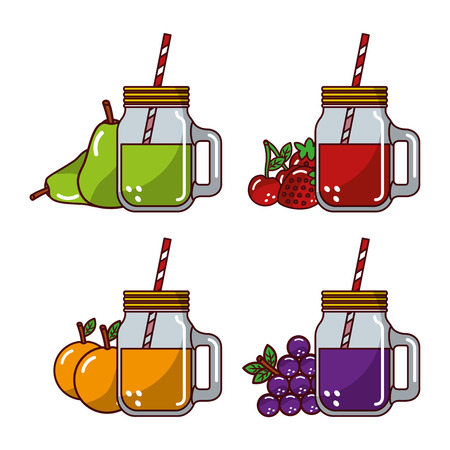 collection fruits juices glass straw fresh natural vector illustration