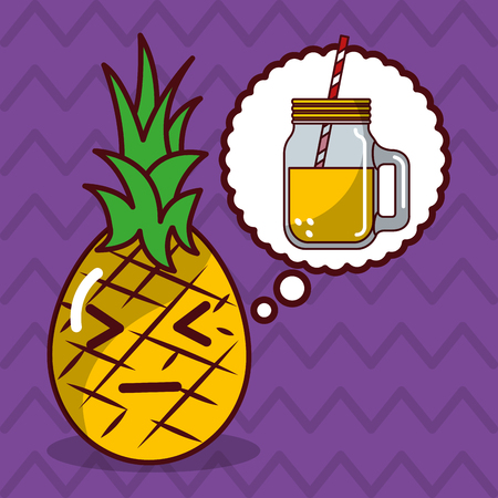 pineapple kawaii fruit with speech bubble character vector illustration