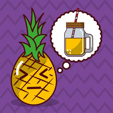 pineapple kawaii fruit with speech bubble character vector illustration