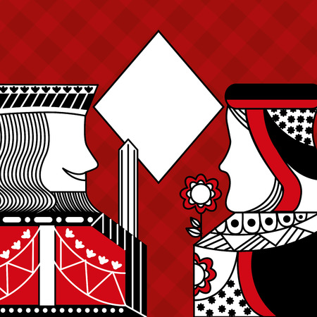 Casino poker queen and king diamond card game red checkered background vector illustration 일러스트