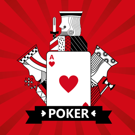 Heart ace jack king and queen cards playing poker red background vector illustration Archivio Fotografico - 96190734