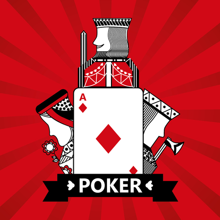 diamond ace jack king and queen cards playing poker red  background vector illustration