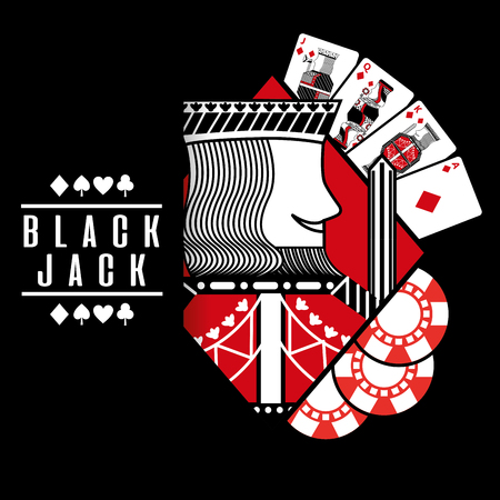 deck card casino black jack king chips with black background vector illustration