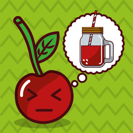 berry kawaii fruit with speech bubble character vector illustration Illustration