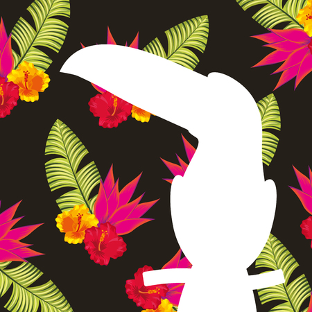 White silhouette toucan tropical flowers and leaves dark background vector illustration