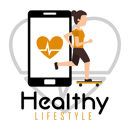 sport woman in skateboarding smartphone heart rate healthy lifestyle vector illustration