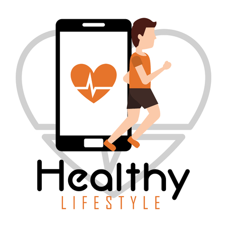 man jogging smartphone heart rate healthy lifestyle vector illustration