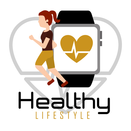 Woman running with smartphone heart rate healthy lifestyle vector illustration Иллюстрация