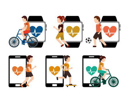collection people sport with smartphone heart beat healthy lifestyle vector illustration