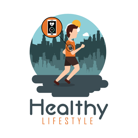 young man running technology healthy lifestyle theme vector illustration