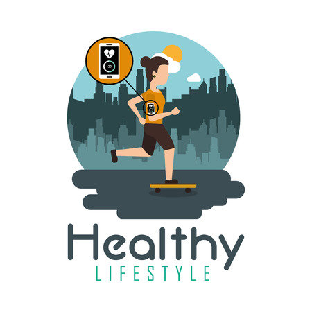 Skater woman riding a skateboard technology healthy lifestyle vector illustration Ilustrace