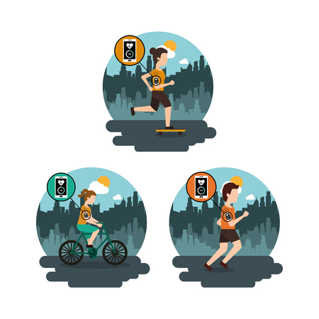 Collection people sport healthy lifestyle in the city vector illustration