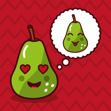 cute pear kawaii fruit with speech bubble character vector illustration