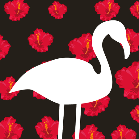 white silhouette flamingo on dark background red hibiscus tropical decoration vector illustration Illustration