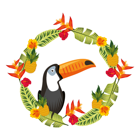 Exotic toucan in weather flowers tropical decoration vector illustration