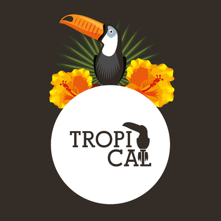 Tropical toucan hibiscus flower frond round label vector illustration