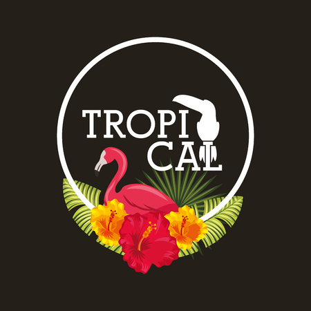 Tropical flamingo flower leaves palm circle label dark background vector illustration Ilustracja