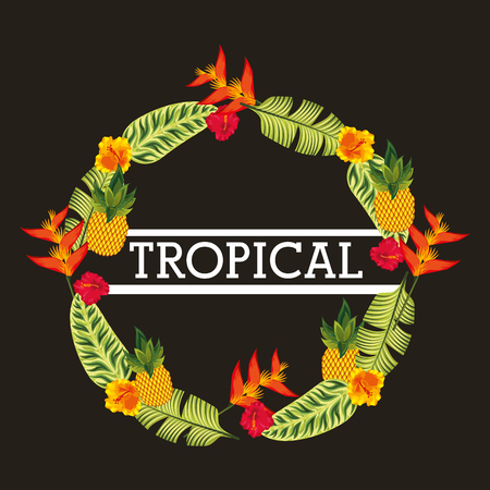 Weather flowers exotic and tropical leaves decoration black background vector illustration