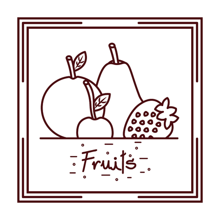 Orange pear strawberry cherry fruits doodle design vector illustration
